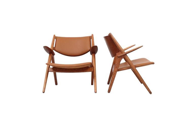 Scandinavian Modern Hans Wegner Sawbuck Lounge Chairs For Sale