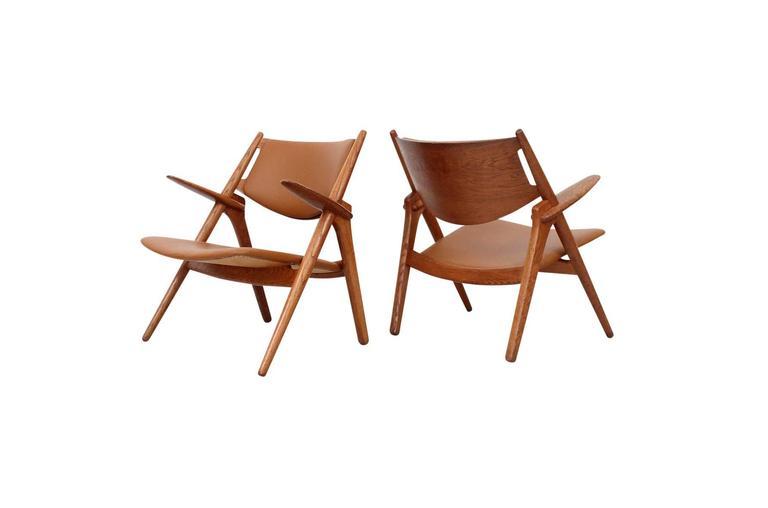 Danish Hans Wegner Sawbuck Lounge Chairs For Sale
