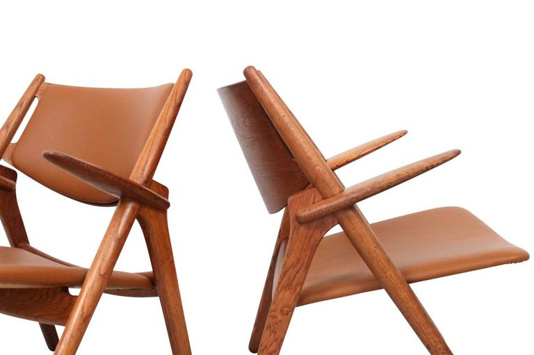 Hans Wegner Sawbuck Lounge Chairs In Good Condition For Sale In Belmont, MA