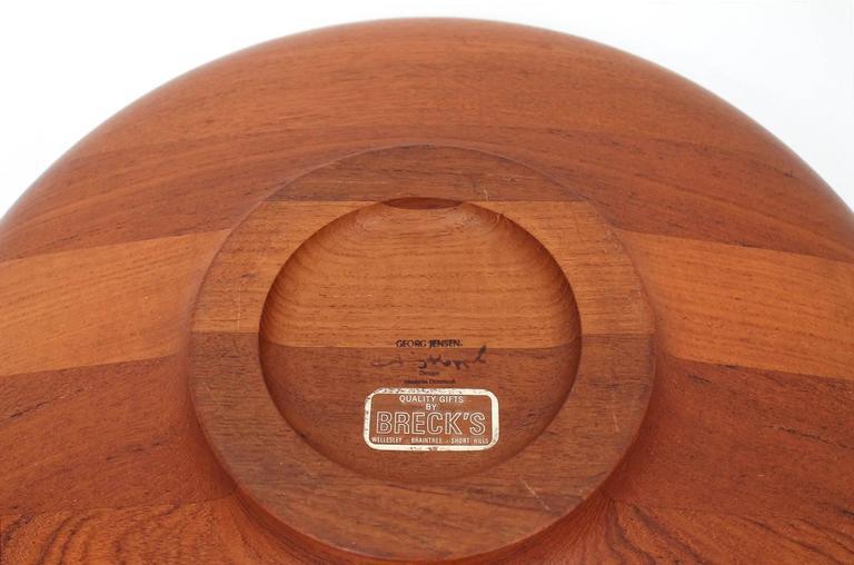 Large Henning Koppel for Georg Jensen Teak Bowl For Sale 4