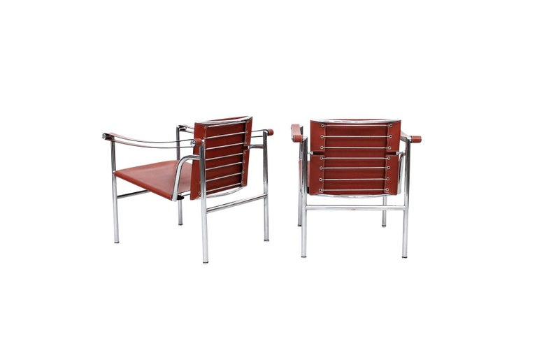 Pair of Le Corbusier LC1 Lounge Chairs for Cassina In Excellent Condition For Sale In Belmont, MA