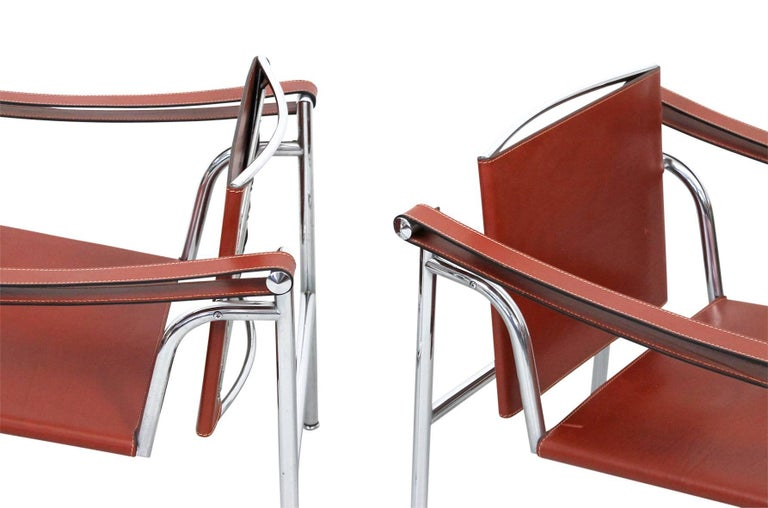 Steel Pair of Le Corbusier LC1 Lounge Chairs for Cassina For Sale