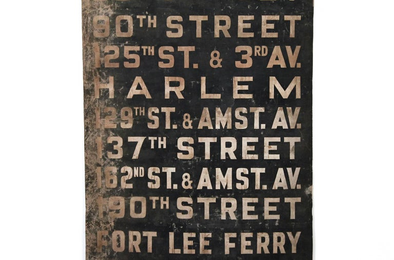 Original 1930s NYC Subway Destination Banner In Good Condition For Sale In Belmont, MA