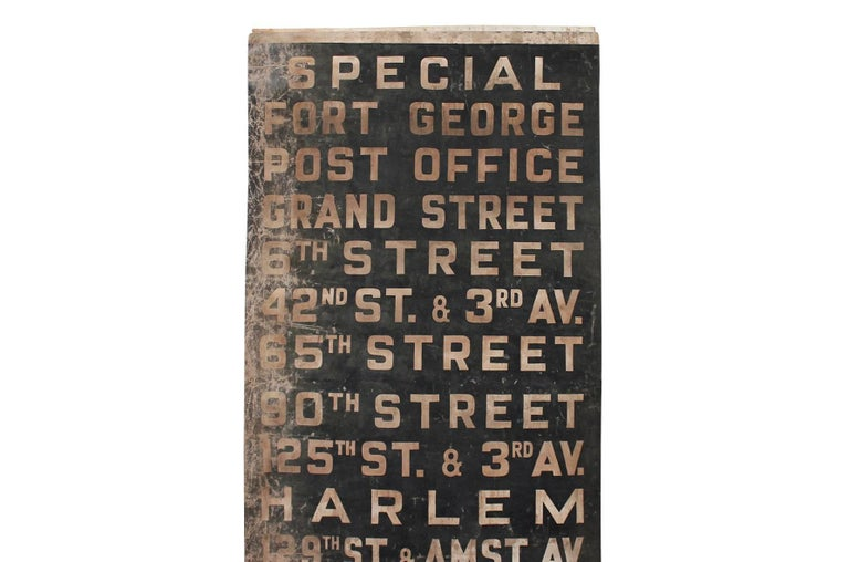 Industrial Original 1930s NYC Subway Destination Banner For Sale