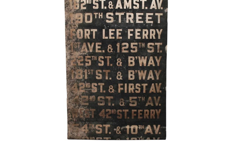 American Original 1930s NYC Subway Destination Banner For Sale
