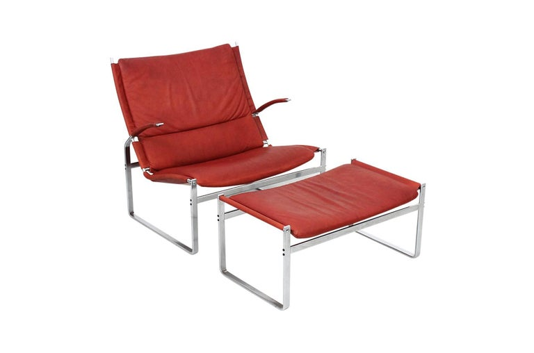 Scandinavian Modern Preben Fabricius and Jorgen Kastholm Lounge Chair and Ottoman For Sale