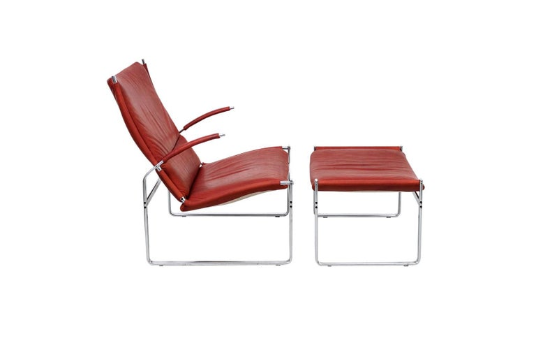 Danish Preben Fabricius and Jorgen Kastholm Lounge Chair and Ottoman For Sale
