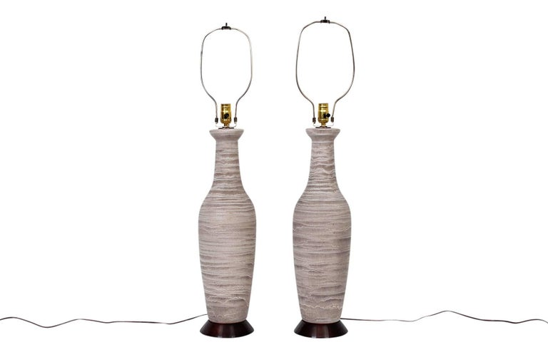 Mid-Century Modern Large Pair of Pottery Table Lamps by Design Technics For Sale