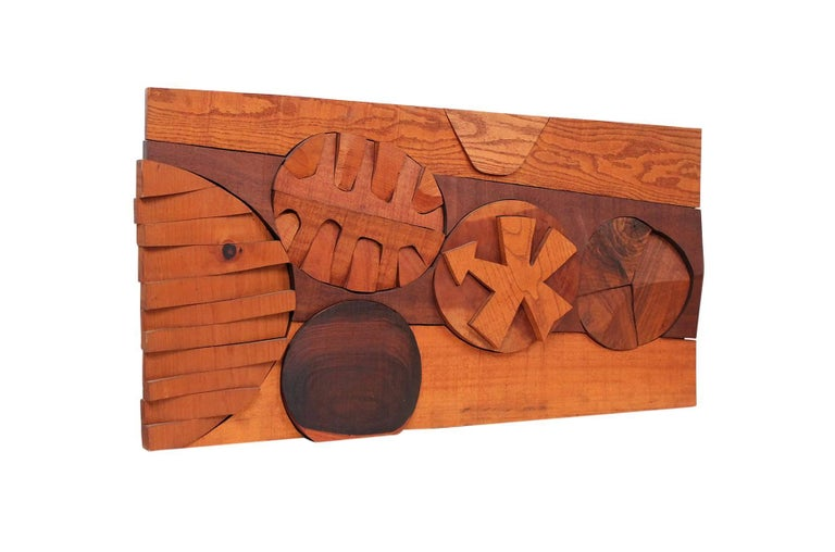 "Hanging wood relief sculpture by American artist Hugh Townley. Townley exhibited widely including a show at MOMA in 1955. He taught at Brown University for 20+ years. Sculpture is signed at dated to the reverse ""L9 Townley '67""."