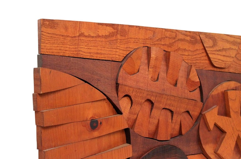Hugh Townley Abstractly Carved Wood Relief Sculpture In Excellent Condition For Sale In Belmont, MA