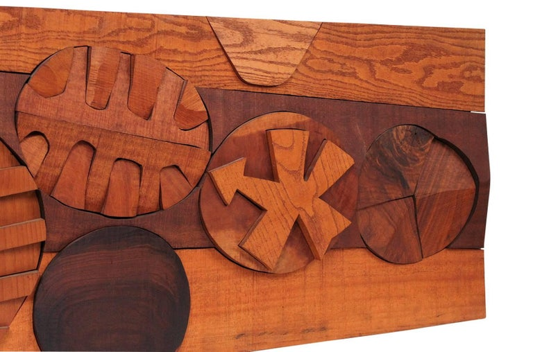 Mid-20th Century Hugh Townley Abstractly Carved Wood Relief Sculpture For Sale
