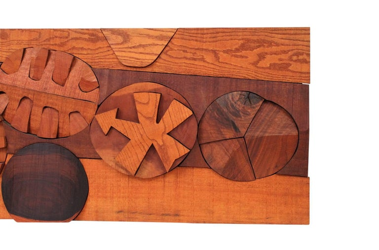 Hugh Townley Abstractly Carved Wood Relief Sculpture 4
