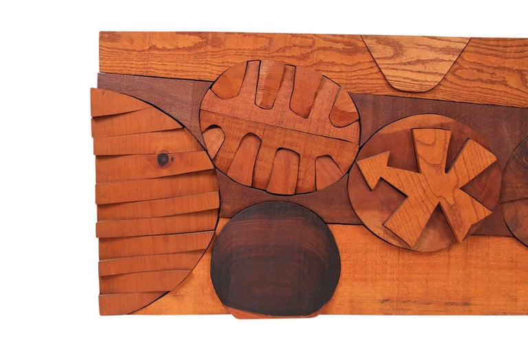 Mid-Century Modern Hugh Townley Abstractly Carved Wood Relief Sculpture For Sale