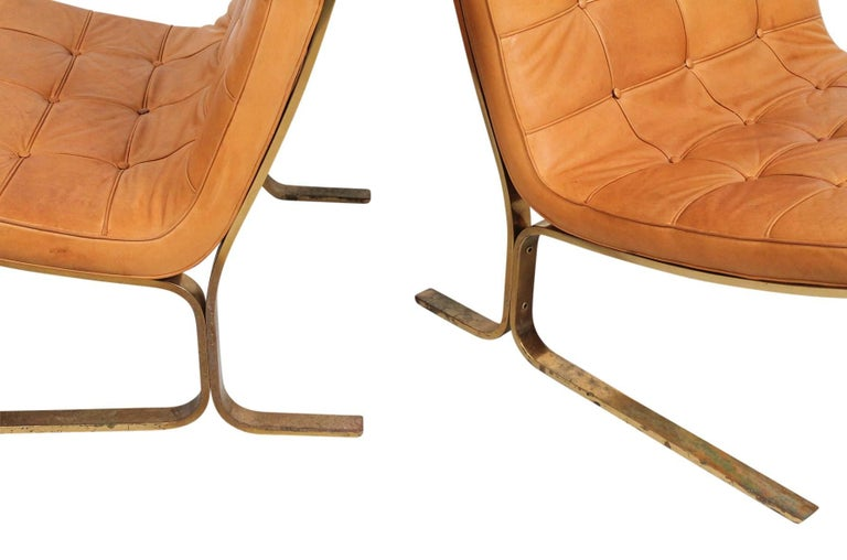Pair of Leather Lounge Chairs by Nicos Zographos In Good Condition For Sale In Belmont, MA