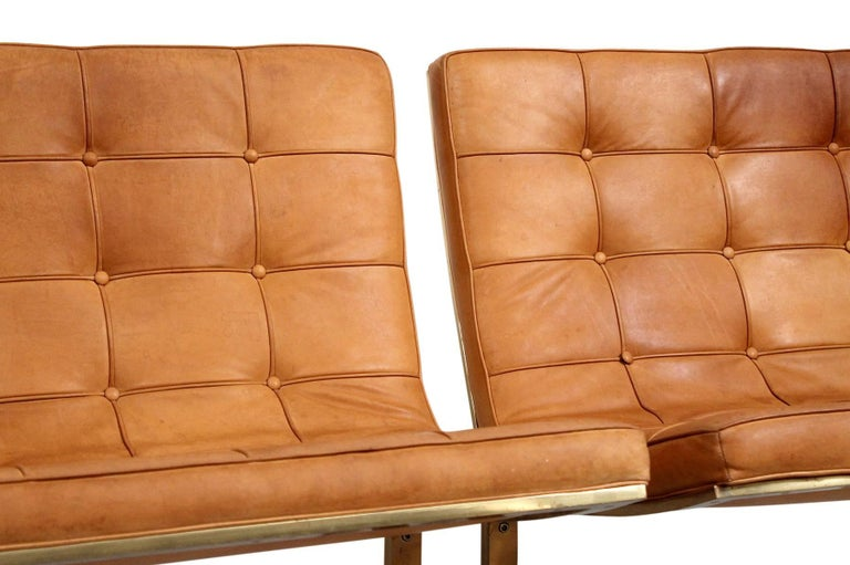 Pair of Leather Lounge Chairs by Nicos Zographos For Sale 1