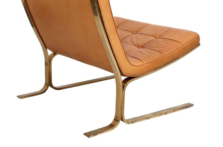 Brass Pair of Leather Lounge Chairs by Nicos Zographos For Sale