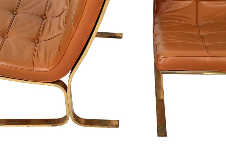 Late 20th Century Pair of Leather Lounge Chairs by Nicos Zographos For Sale