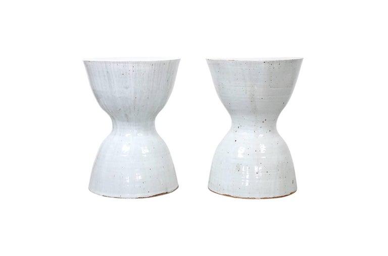 Mid-Century Modern Pair of Tariki Ceramic Stools For Sale