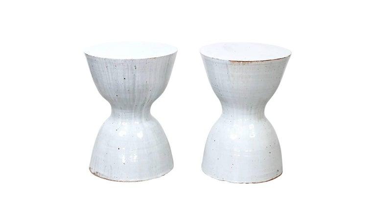 American Pair of Tariki Ceramic Stools For Sale