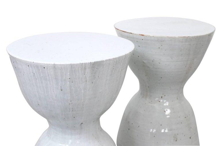 Late 20th Century Pair of Tariki Ceramic Stools For Sale