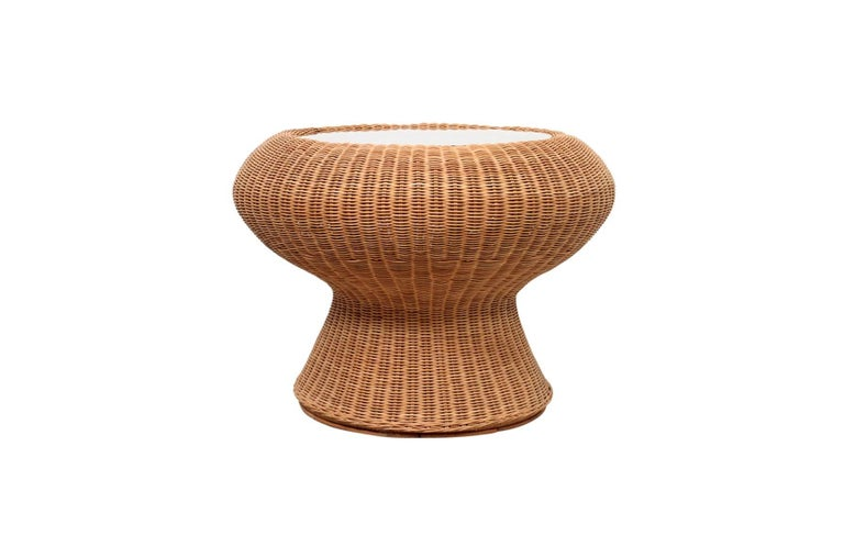 """Seldom seen rattan and glass side table designed by Japanese architect and designer Isamu Kenmochi. This design is illustrated in the book: """"Design: Isamu Noguchi and Isamu Kenmochi"""" by Rychlak, et al."""