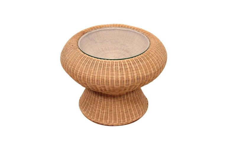 Mid-Century Modern Rare Isamu Kenmochi Rattan Side Table For Sale