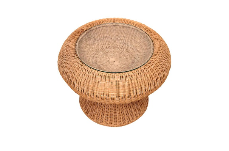 Japanese Rare Isamu Kenmochi Rattan Side Table For Sale