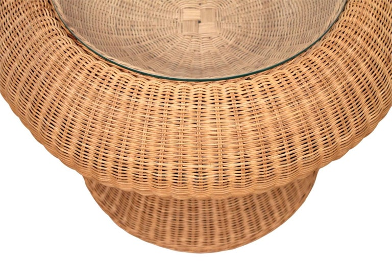 Late 20th Century Rare Isamu Kenmochi Rattan Side Table For Sale