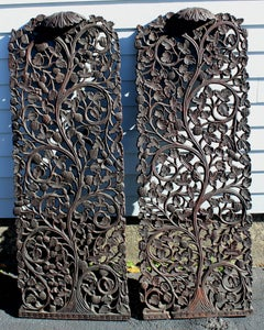 Pair of 19th Century Asian Foliate Carved Panels or Doors