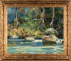 Walter Granville-Smith Oil Painting of Trout Fishing, The Pool