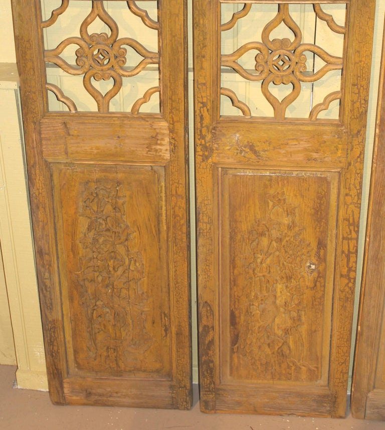 Hand-Carved Antique Chinese Painted Four Panel Screen or Doors, Four Lucky  Keys, - Antique Chinese Painted Four Panel Screen Or Doors, Four Lucky Keys