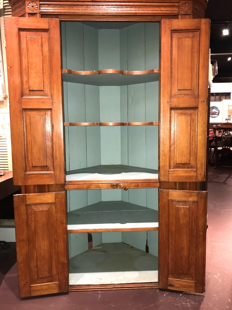 American Raised Panel Pine Four-Door Cupboard circa 1800 Probably Mid Atlantic States For Sale