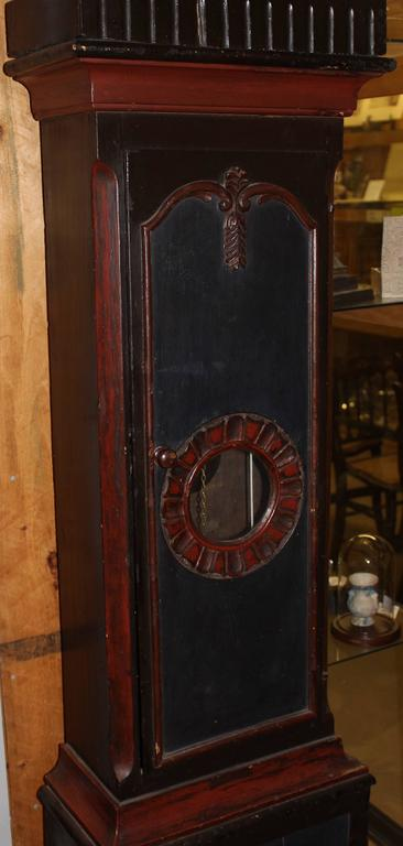 19th Century Swedish Tall Case Clock with Painted Case In Good Condition For Sale In Milford, NH