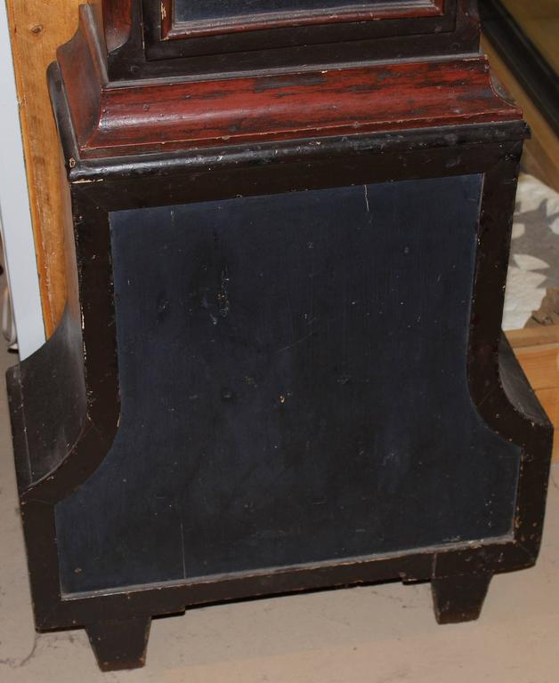19th Century Swedish Tall Case Clock with Painted Case For Sale 1
