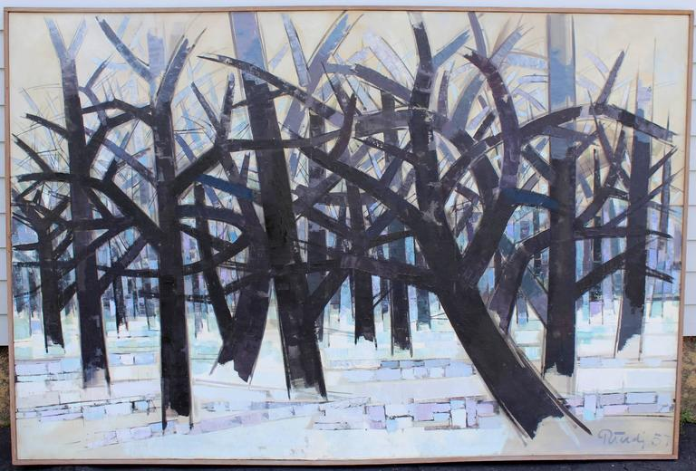 Gabor Peterdi Modernist Oil Painting, Winter II 2