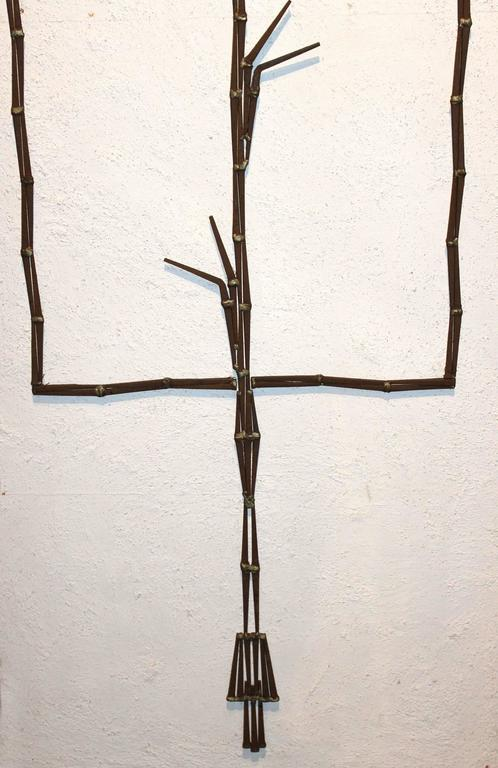 American Mid-Century Modern Plaster and Metalwork Brutalist Wall Art For Sale