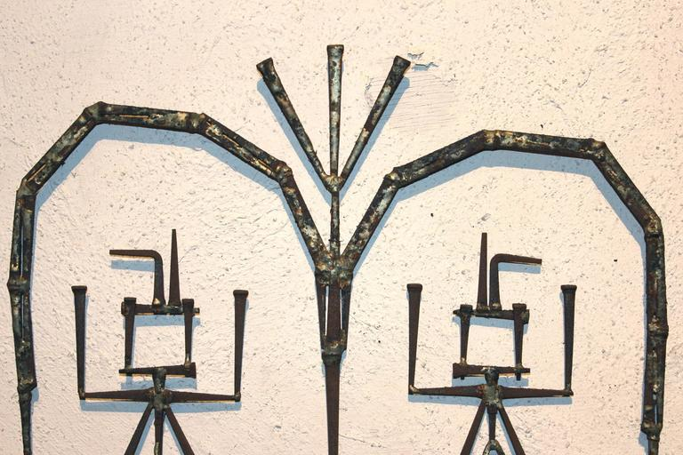 Mid-Century Modern Plaster and Metalwork Brutalist Wall Art In Excellent Condition For Sale In Milford, NH