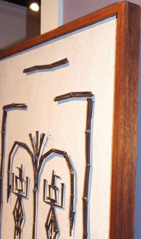 Mid-Century Modern Plaster and Metalwork Brutalist Wall Art For Sale 1