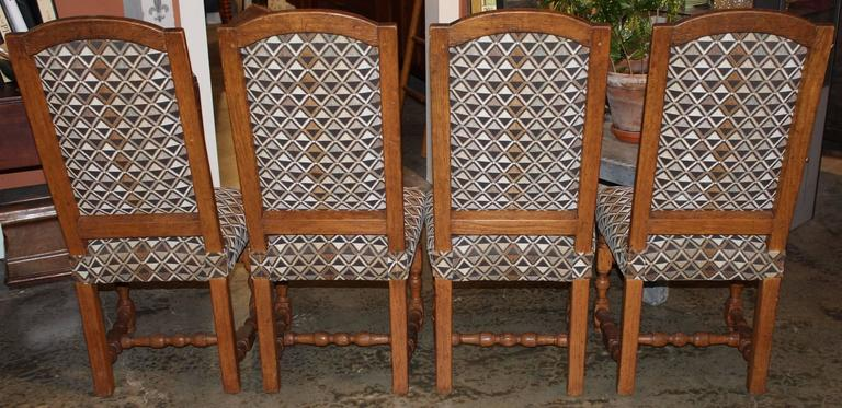 Carved Assembled Set of Four 19th Century French Provincial Walnut Dining Chairs For Sale