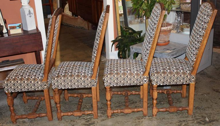 Assembled Set of Four 19th Century French Provincial Walnut Dining Chairs In Excellent Condition For Sale In Milford, NH