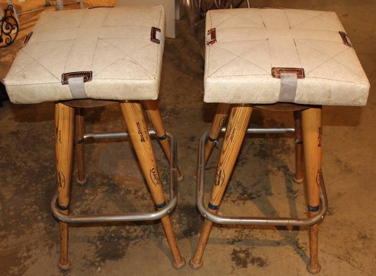 Well Known Pair Of Custom Baseball Bat Bar Stools With Base Seat Cushions For Yy44