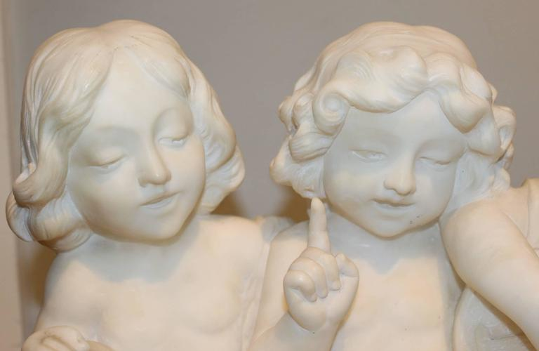 Italian Adolfo Cipriani Carved Stone Musical Sculpture of Three Children Singing