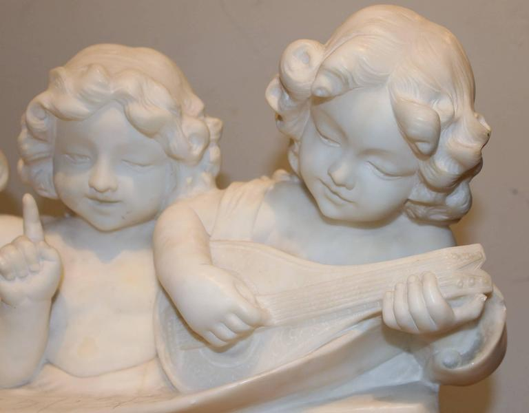 Adolfo Cipriani Carved Stone Musical Sculpture of Three Children Singing In Excellent Condition In Milford, NH