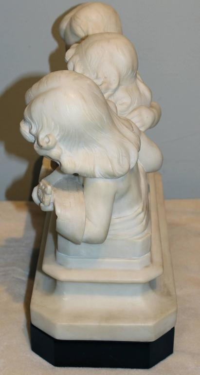 Adolfo Cipriani Carved Stone Musical Sculpture of Three Children Singing 1