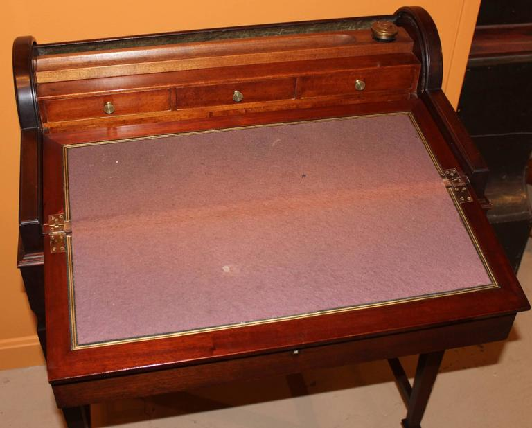Veneer Shaw Furniture Co Petite Roll Top Writing Desk Cambridge Ma Circa 1920 For