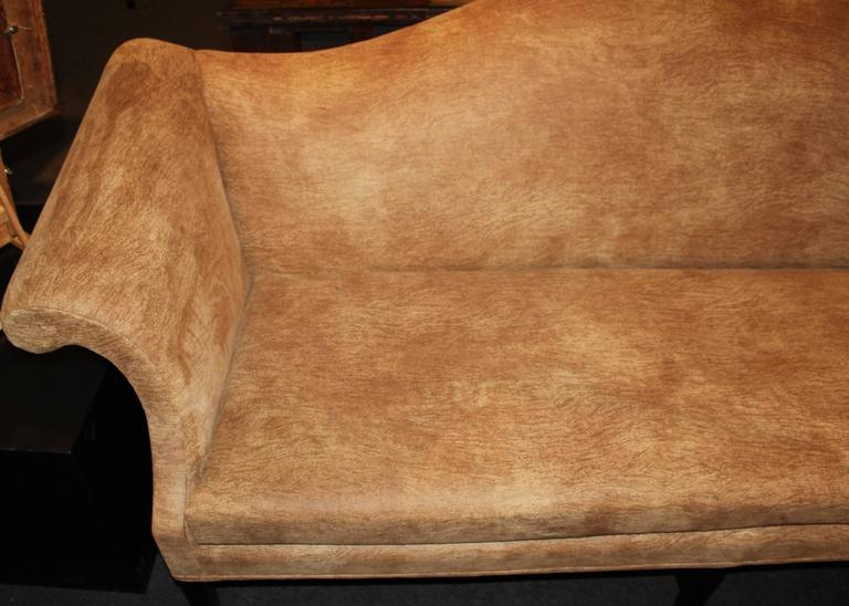 Chippendale Style Mahogany Camelback Sofa In Faux Cork
