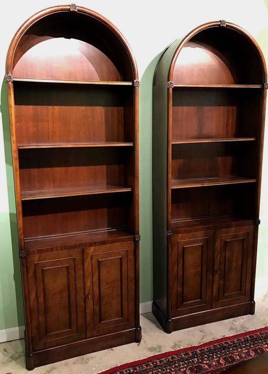 Pair Of Mahogany Kaplan Furniture Beacon Hill Arched Bookcases Or