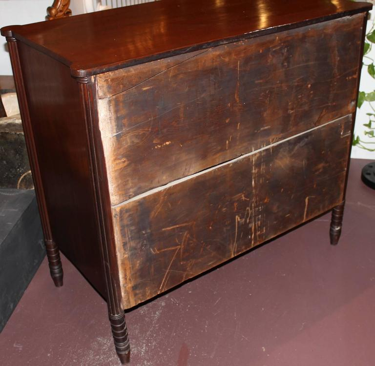 American Sheraton Mahogany Four-Drawer Chest with Ovolu Corners, circa 1820 For Sale 2