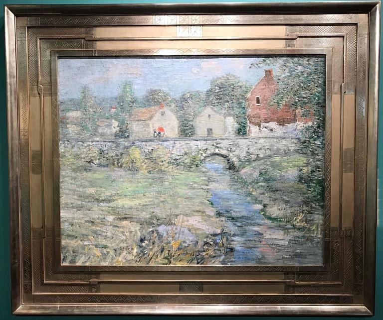 Paul Bernard King Pennsylvania Impressionist Oil Painting, Artists Bridge 2