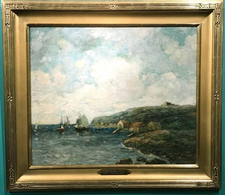This wonderful impressionist coastal marine painting of a harbor scene was done by American artist Paul Bernard King (1867-1947). King was born in Buffalo, New York, and after becoming an established printer, went on to study at the NY Art Students